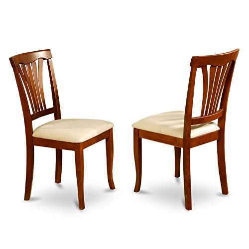 East West Furniture AVC-SBR-C Chair Set for Dining Room with Microfiber Upholstered Seat, Saddle Brown Finish, Set of 2 - Brown Microfiber Seat