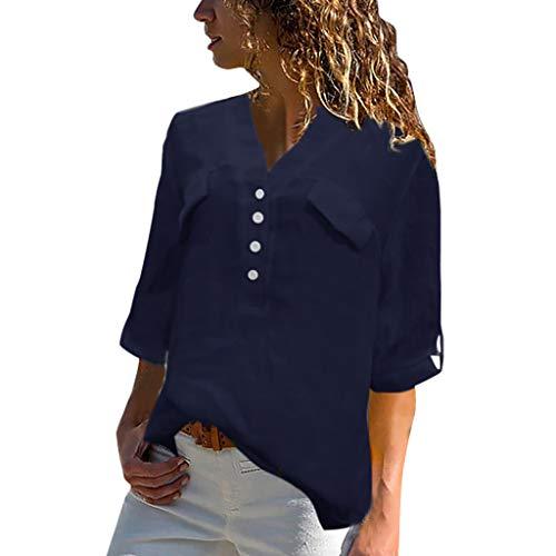 Toaimy Women Plus Size Vintage Half Sleeve V-Neck Button Casual Top T-Shirt Blouse Blue