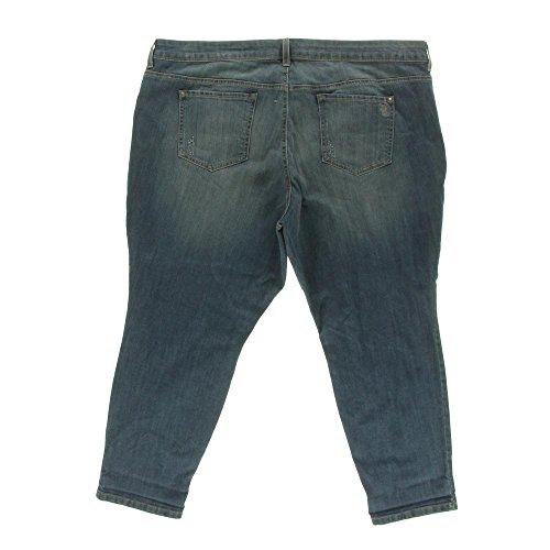 Jessica Simpson Womens Plus Forever Juniors Distressed Capri Jeans Denim 24W
