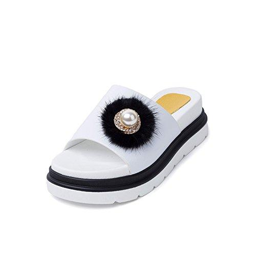 Women's Heel Sandals Chunky amp;X Black nbsp; Flop nbsp;Flip Qin Casual XPUW57qn