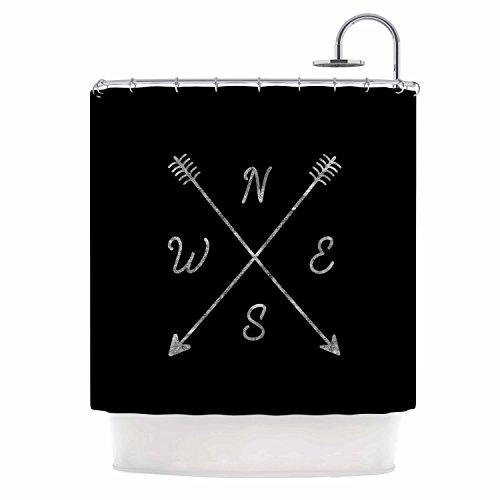 Kess InHouse Draper Cardinal Direction B Black Vintage Shower Curtain (69x70)