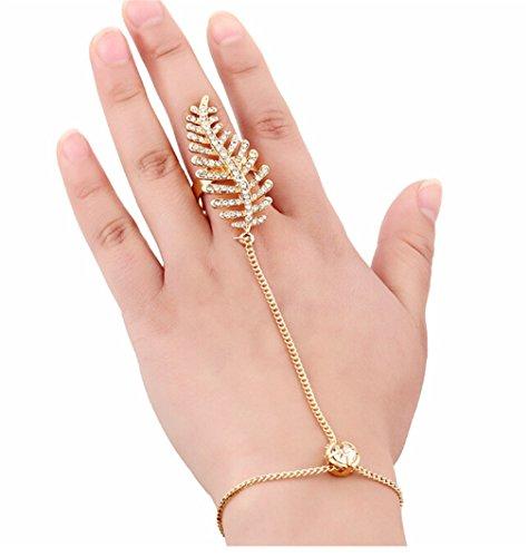 Jewelry Rhinestone Bracelet Leaf Hand Harness Slave Chain Link Finger Bracelets from Challela