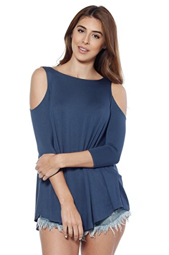 Alexander + David Womens Cold Shoulder Blouse Top, Sexy 3/4 Sleeve Jersey Top