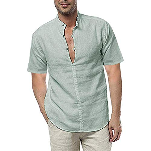 Linen Shirts for Men Short Sleeve Big and Tall Three Buttons Casual Loose Dress Soft Tops Tee Green