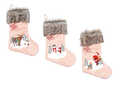 ALIMITOPIA 3pcs Christmas Stocking,Assorted Patterns Fur Rim Santa Gift Candy Bag Socks Hanging Supplies for Xmas Tree Decoration(Large Size,20