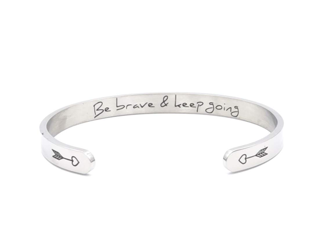 Yiyang Friendship Gifts for Sister Silver Cuff Bracelet Stainless Steel Bangle Jewellery Life is Better with Friends