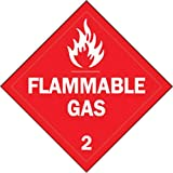 Brady 13/4'' X 13/4'' X .024'' Red On White B-101 Polycoated Tagstock Safety Sign''Flammable Gas''