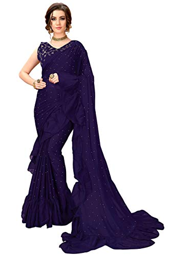 GLORY Sarees Women's Ruffle Saree (Blue)