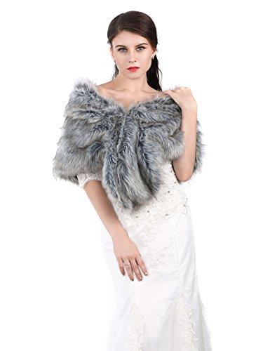 Jovono Women's Wedding Bridal Fur Shawl Wrap for Women and girls (Grey)