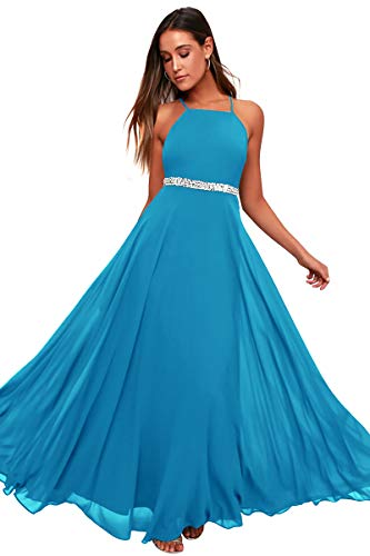 Women's Adjustable Spaghetti Straps Beaded Criss-Cross Open Back Tulle Sexy Formal Ball Evening Gown Long Dress (Turquoise688, XXLarge)