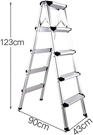 GYX Escalera de 5 peldaños, Taburete de aluminio plegable de doble cara Escalera de peldaño plegable tipo A, carga 150 kg,Plata: Amazon.es: Bricolaje y herramientas