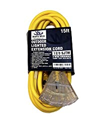 15 Ft 12 3 Heavy Duty 3 Outlet Lighted Sjtw Indoor Outdoor Extension Cord By Watts Wire Yellow 15 12 Gauge Grounded 15 Amp Three Prong Power Cord 15 Foot 12 Awg