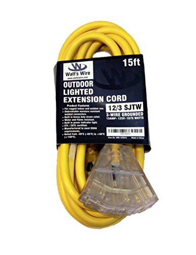 15ft 12 Gauge Heavy Duty Indoor/Outdoor SJTW Lighted Triple Outlet Extension Cord by Watt's Wire - 15' 12/3 Rugged Lighted Grounded Pigtail Power Cord - 12AWG 125Vac 15Amp 1875Watt