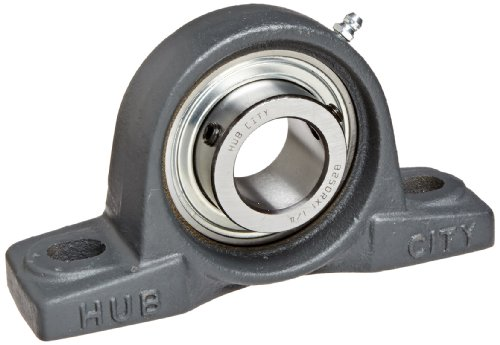 Hub City PB250URX1-1/4 Pillow Block Mounted Bearing, Normal Duty, Low Shaft Height, Relube, Setscrew Locking Collar, Narrow Inner Race, Cast Iron Housing, 1-1/4