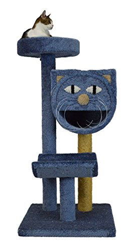 Molly and Friends Three-Tier Scratching Post Furniture with A Bed On A Carpeted 47″ Pole, Blue