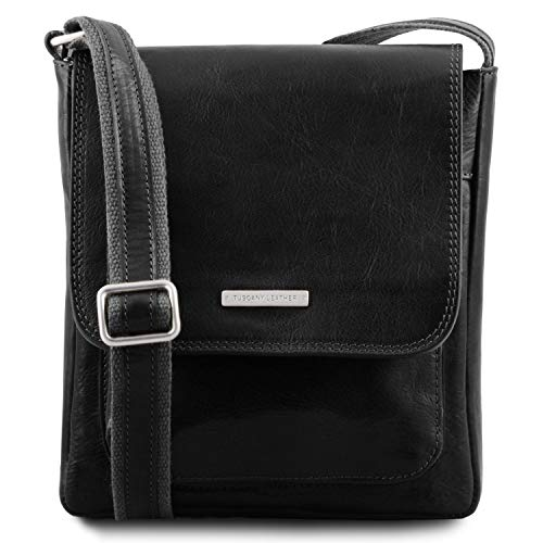 en Delantero Bolsillo para Hombre Bolso Leather Jimmy Piel Negro Tuscany con Miel qf6XFn