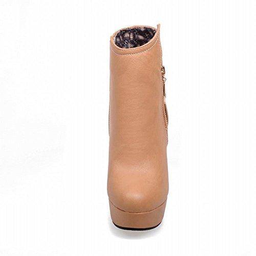 Carolbar Moda Para Mujer Sexy Elegance Charms Cremallera De Tacón Alto Plataforma De Tobillo Botas De Albaricoque