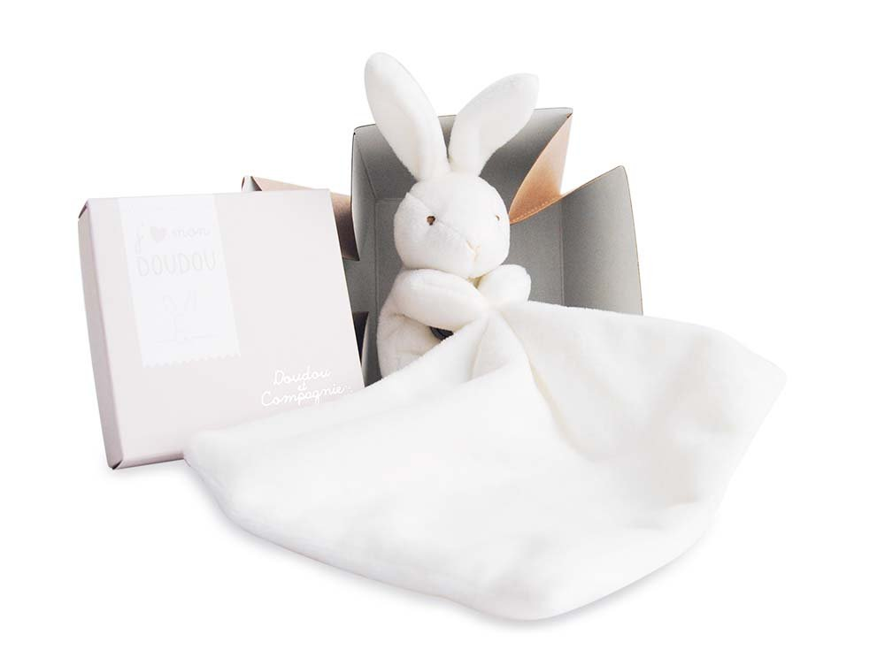 DOUDOU ET COMPAGNIE - White Small Soft Bunny with Blankie 303