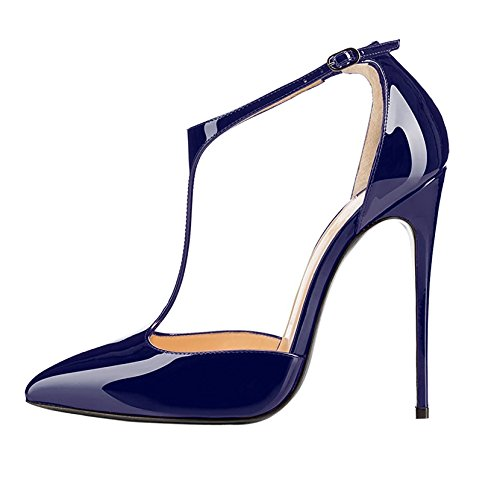 Sammitop Women's Pointy Toe Cut Out T-Strap High Heel Dress Pumps Dark Blue US5 ()