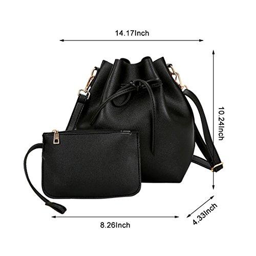 Women Textured Faux Leather Drawstring Style Mini Handbag Bucket Shoulder Bag (Black2) by Shayin (Image #1)