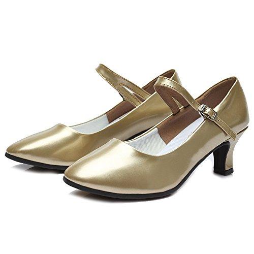 US Roymall Performance MD Tango M TY Gold Shoes Salsa 7 Model Ballroom Dance B 5 Latin 5 Leather Women's Shoes 11rHf