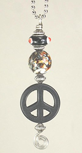 - Trace Ellements Rear View Mirror Car Charm Ornament Peace Symbol with Confetti Party Glass
