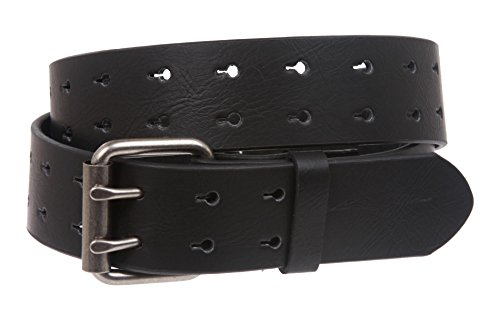 Snap On Two Row Cut-out Holes Leather Belt, Black | L - 39 (Row Cut Out)