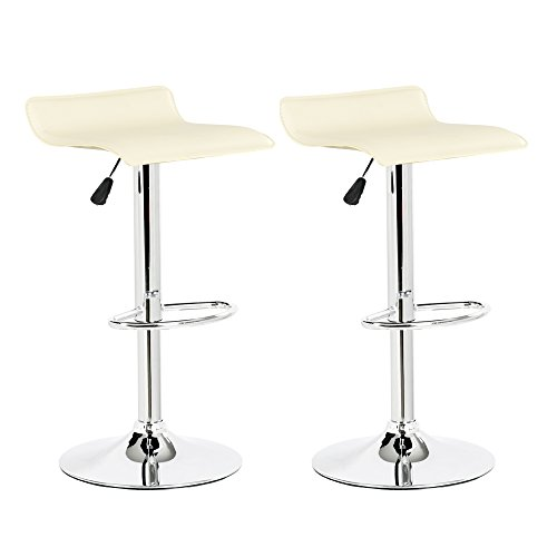 Belleze Set of 2 Modern Adjustable Swivel Leather Hydraulic Lift Counter Bar Stool, White Review