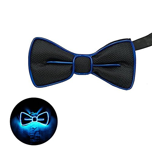 LED Bow Tie Sound Activated Glow Bow Tie For Party-Blue -