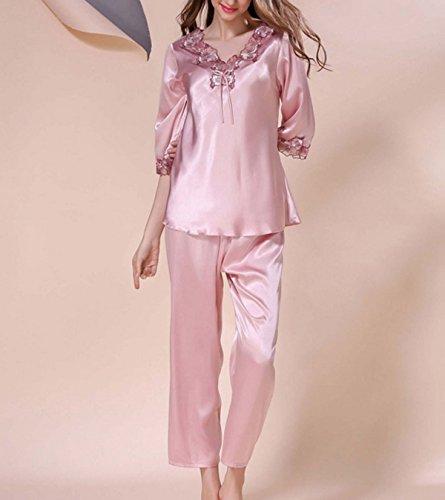 Sra Yardas Grandes De Manga Larga De Dos Piezas Pijama De Seda Cómoda Y Ocio Ropa Interior Purple