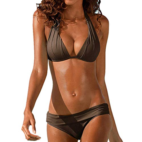 Retro Women Brazilian Bikini Set Solid Halter Pleated Swimsuit Swimwear Beach Bathing Suits (S, Brown)