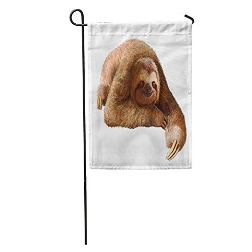jiebokejiHFGD Garden Flag Animal Happy Sloth Resting on Clean Calmness Idleness Laziness Loafer Home Yard House Decor Barnner Outdoor Stand 12x18 Inches Flag