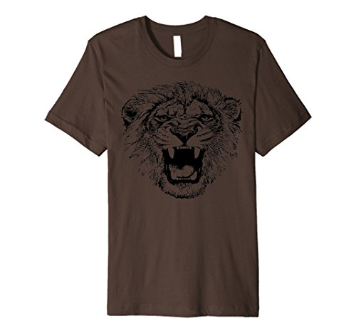 Mens Slim-Fit Spooky Roaring Lion Animal Costume Halloween Shirt Medium Brown - Good Husband And Wife Halloween Costumes