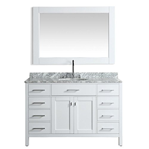 Design Element London 54-in. Single Bathroom Vanity Set with Carrera Marble Top and Cabinet
