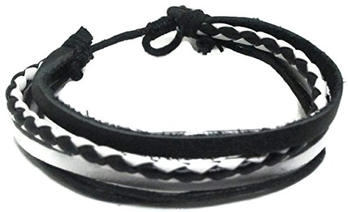 Genuine Leather Black & White bracelet with of the leathe...