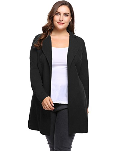 Womens Plus Size Lightweight Open Front Trench Coat Wrap Jacket Blazer Cardigans With Self-Tie by IN'VOLANG