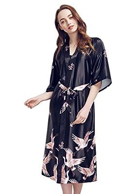 SexyTown Women 's Long Kimono Robe Print Sleepwear Holidays Exclusive Bathrobe and Loungewear