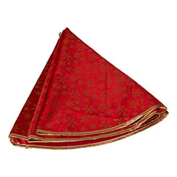 Red Christmas Tree Skirt With Gold Snowflakes By Clever Creations
