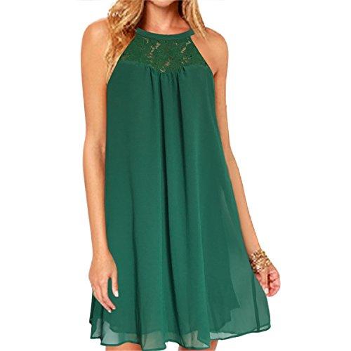 2460ddbf14af vanberfia Women's Sleeveless Lace Patchwork Loose Casual Mini Chiffon Dress  (M, 6225)