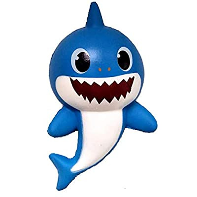 Baby Shark Family 5in Squishy 1pk - Slow Rising, Stress Relief, Party Favors, stocking stuffer, 1 Shark per pack, Random colors: Toys & Games