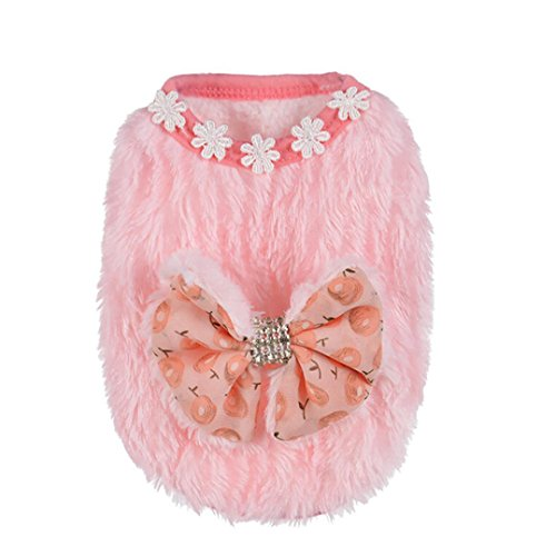 Alalaso Pet Apparel,Autumn and Winter Polyester Pet Puppy Small Dog Mini Dog Clothes Coat (XXS, Pink) -
