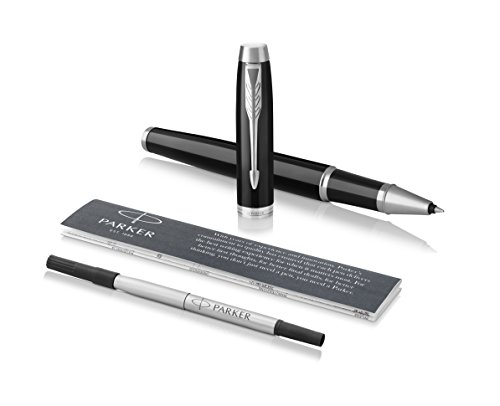 Parker IM Rollerball Pen, Black Lacquer Chrome Trim with Fine Point Black Ink Refill (1975540)