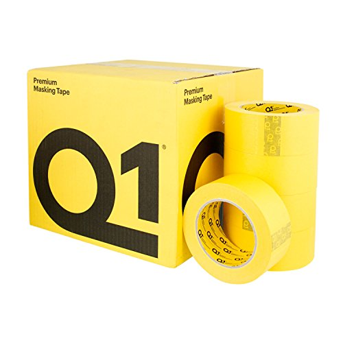 Q1 - 2 inch (48mm x 55m) Premium High Performance Automivite Yellow Masking Tape - High Temperature - Case of 20 Rolls by Q1