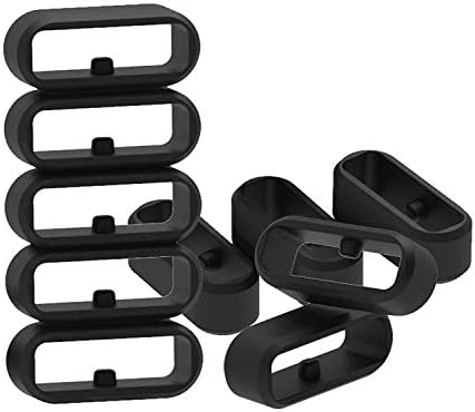 Replacement Fastener Rings CompatibleGarmin Fenix 5S/Fenix 5S Plus/Fenix 6S/Fenix 6S Plus Bands(Pack of 11) Silicone Connector Security Loop Keepers Ring for Fenix 5S SmartwatchBlack