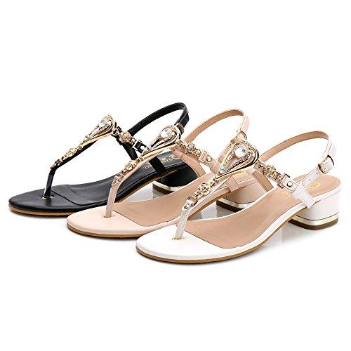 SUNAVY Damen Bling Strass Slingback Sandalen Leder-PU Peep-Toe Keil Strand Schuhe (EU33 - EU39) Weiß