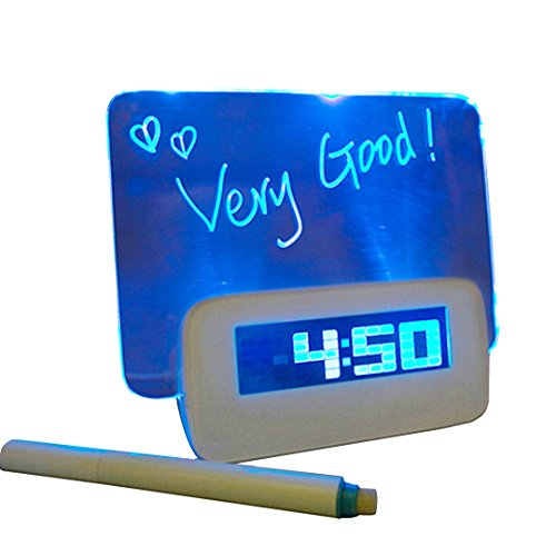 Monique Creative LED Digital Alarm Clock Fluorescent Message Memo Board Clock with a Highlighter (Fluorescent Alarm Clock)