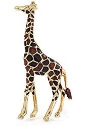 Brown Enamel 'Giraffe' Brooch In Gold Plated Metal - 45mm L