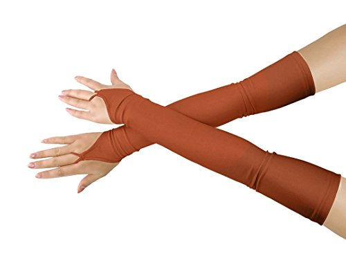 (Shinningstar Girls' Boys' Adults' Stretchy Lycra Fingerless Over Elbow Cosplay Catsuit Opera Long Gloves)