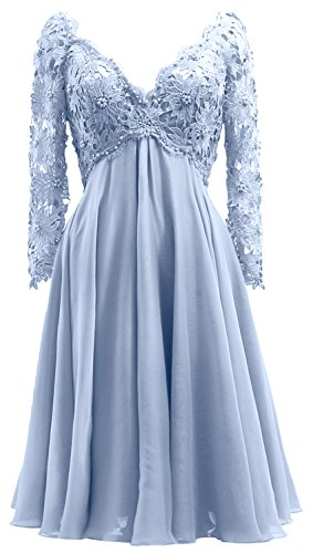 Women Himmelblau Dress V Bride Mother Midi of Neck the Long Sleeve MACloth Formal Gown Lace 61HCqw