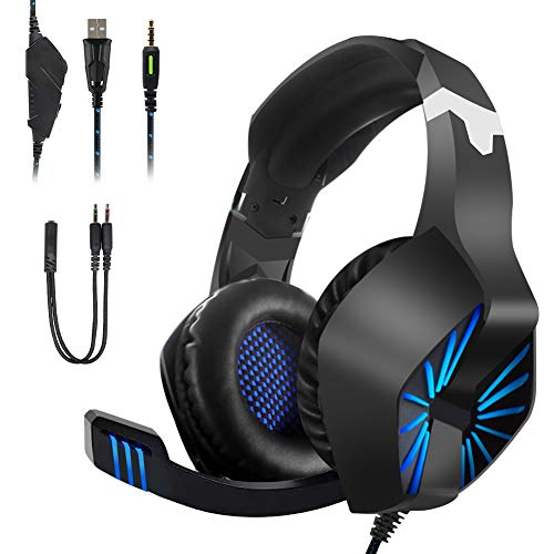 Regemoudal Gaming Headset for Xbox One, PS4, PC?Noise Cancelling Over Ear Headphones Mic, Blue LED Light, Subwoofer Surround, Soft Memory Earmuffs for PC Laptop Tablet and Smart Phone